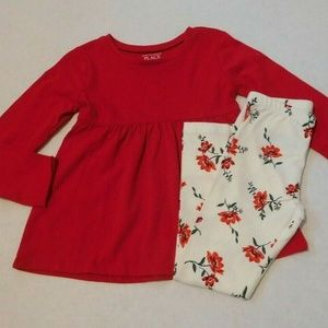 NWT 2pc Place Red Top & Old Navy Floral Leggings